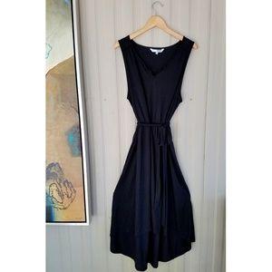 Sonoma Black Maxi Dress Sash Soft High Low 2X NEW!